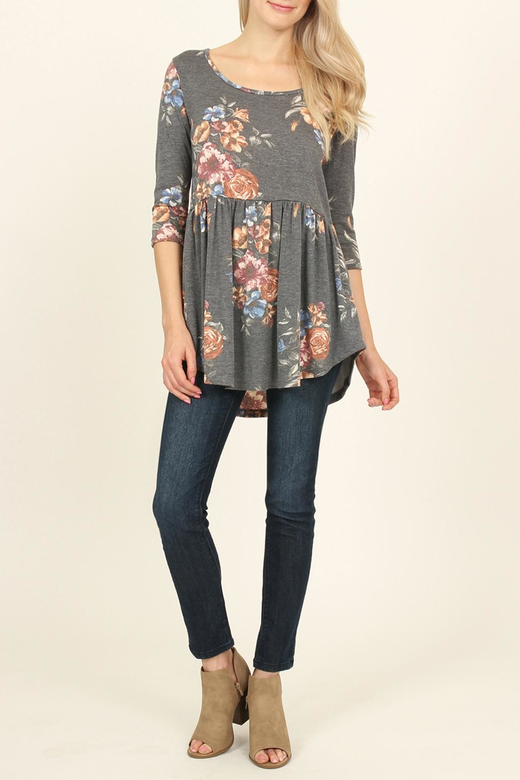 Riah Fashion Baby Doll Floral Tunic - Front Full Image
