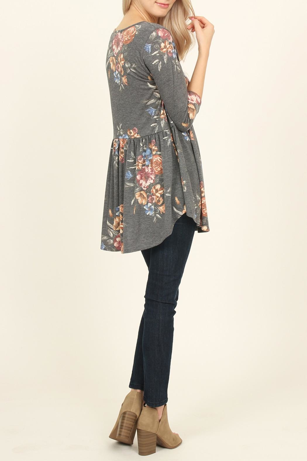 Riah Fashion Baby Doll Floral Tunic - Side Cropped Image