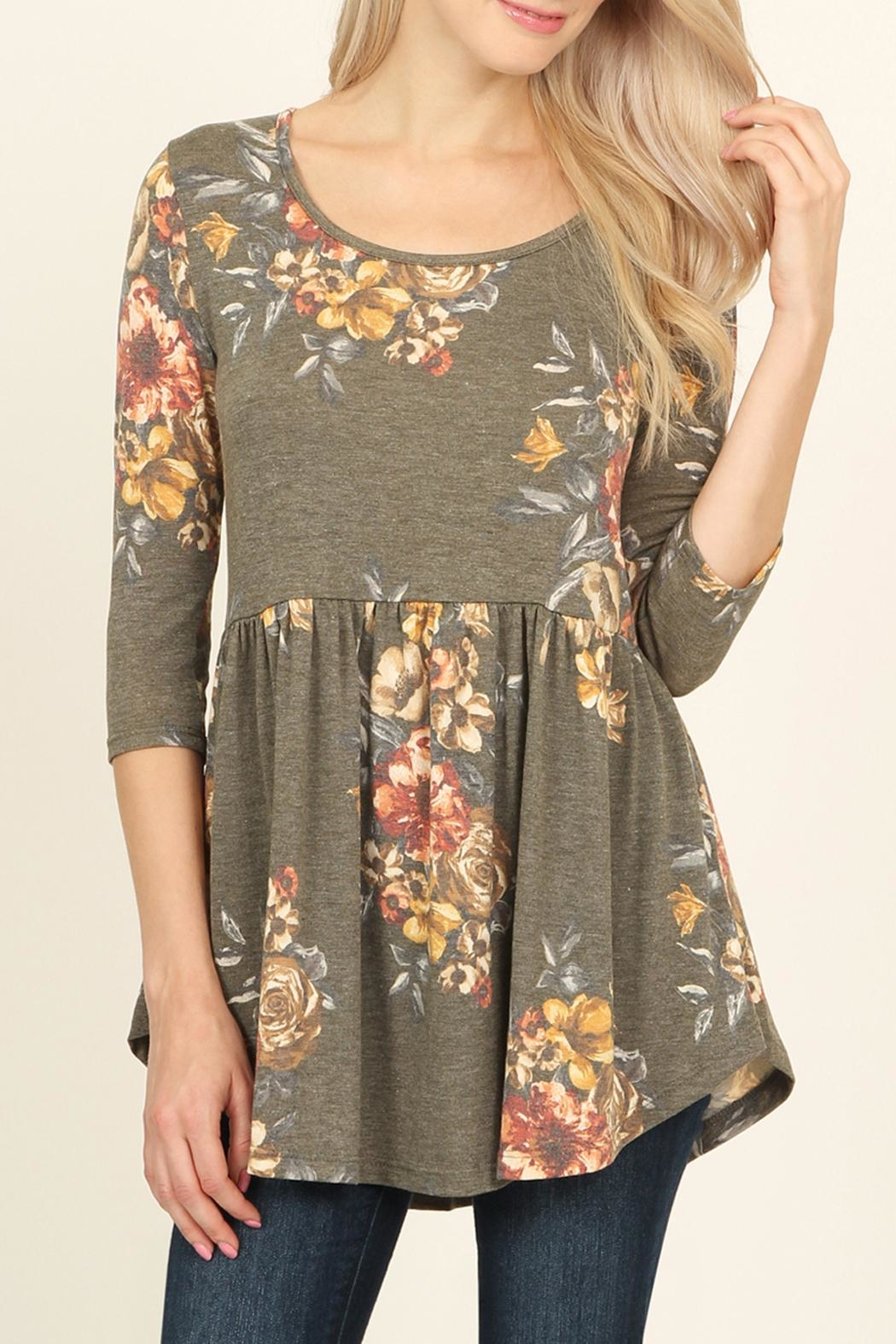 Riah Fashion Baby Doll Floral Tunic - Front Cropped Image