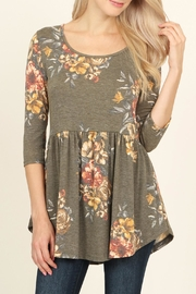 Riah Fashion Baby Doll Floral Tunic - Front cropped