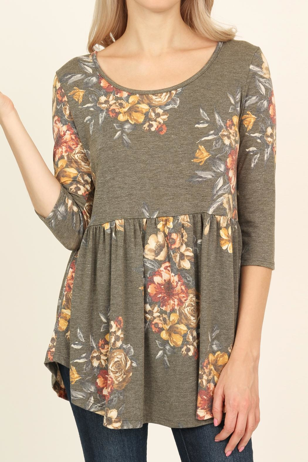 Riah Fashion Baby Doll Floral Tunic - Back Cropped Image
