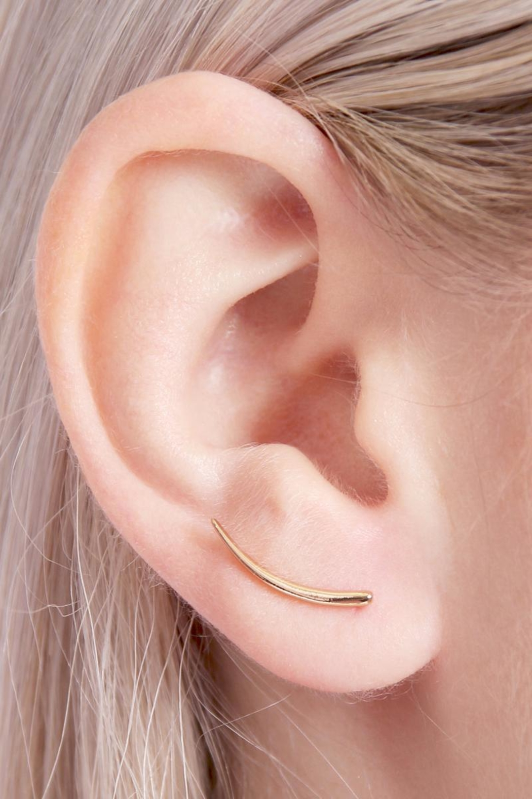 Riah Fashion Bar Curved Crawler Earring - Side Cropped Image