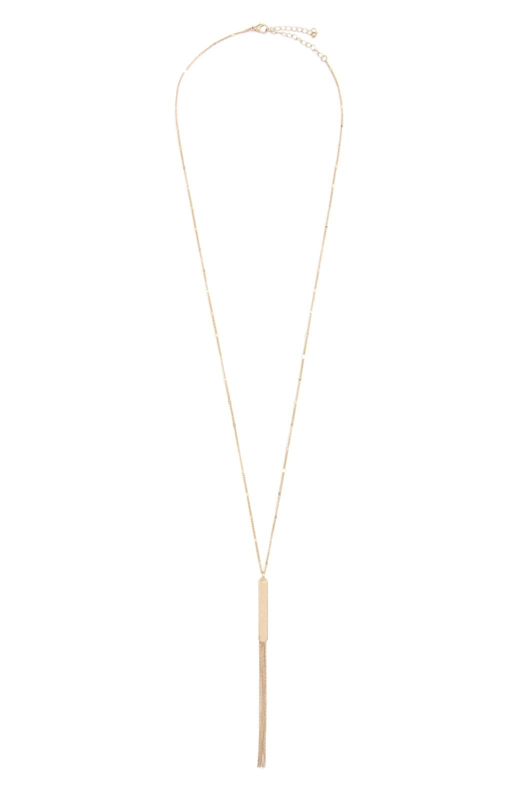 Riah Fashion Bar Long Necklace With Tassel - Front Full Image