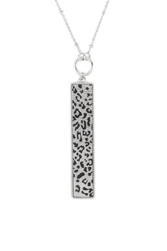 Shoptiques Product: Bar Shaped-Sanding-Metal-With-Animal-Print-Long-Necklace