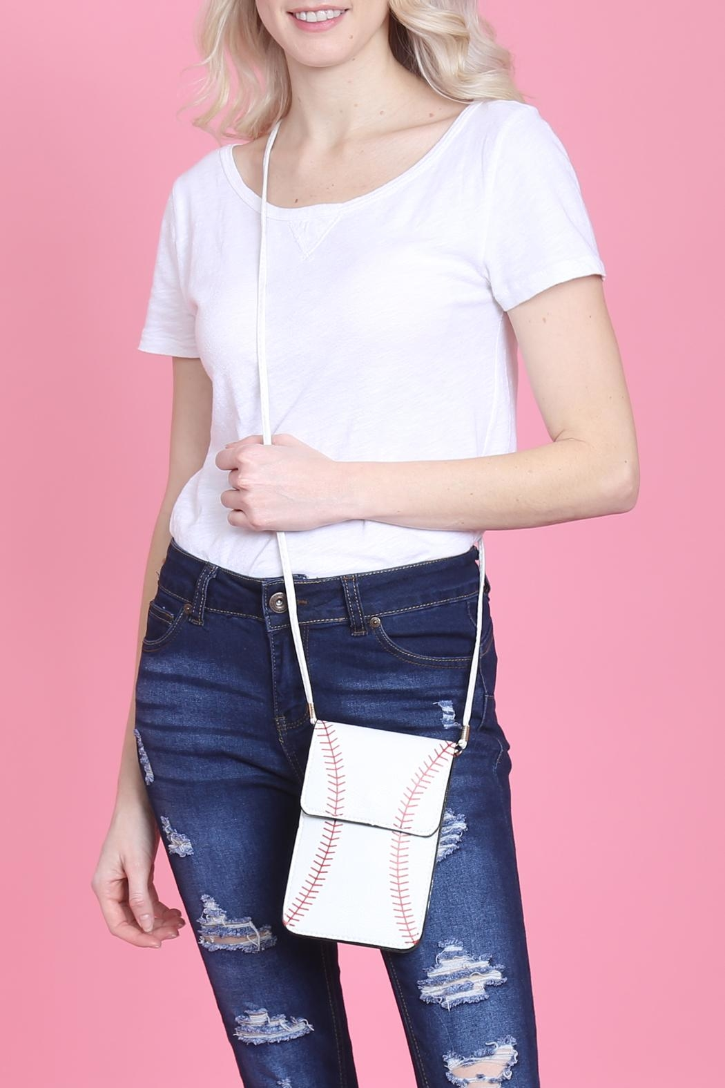 Riah Fashion Baseball Cellphone-Crossbody-With-Clear-Window-Pouch - Main Image