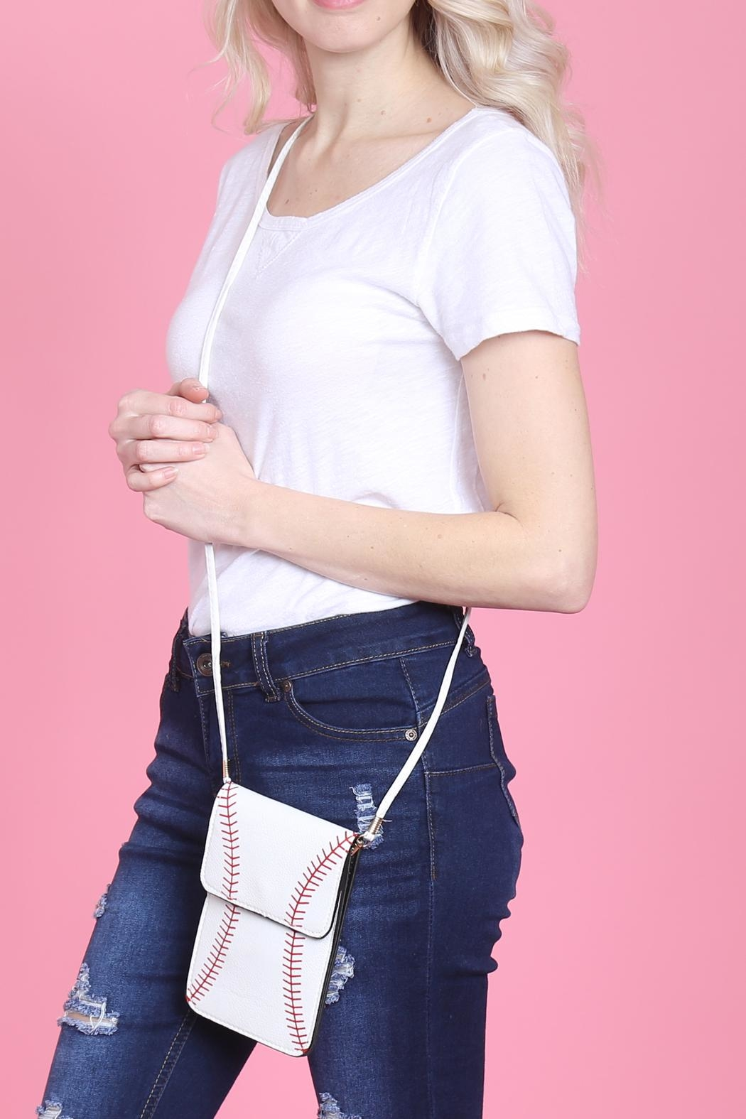 Riah Fashion Baseball Cellphone-Crossbody-With-Clear-Window-Pouch - Side Cropped Image