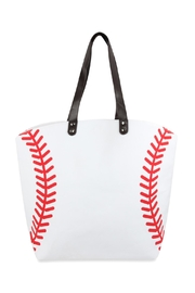 Riah Fashion Baseball Leather Tote Bag - Product Mini Image