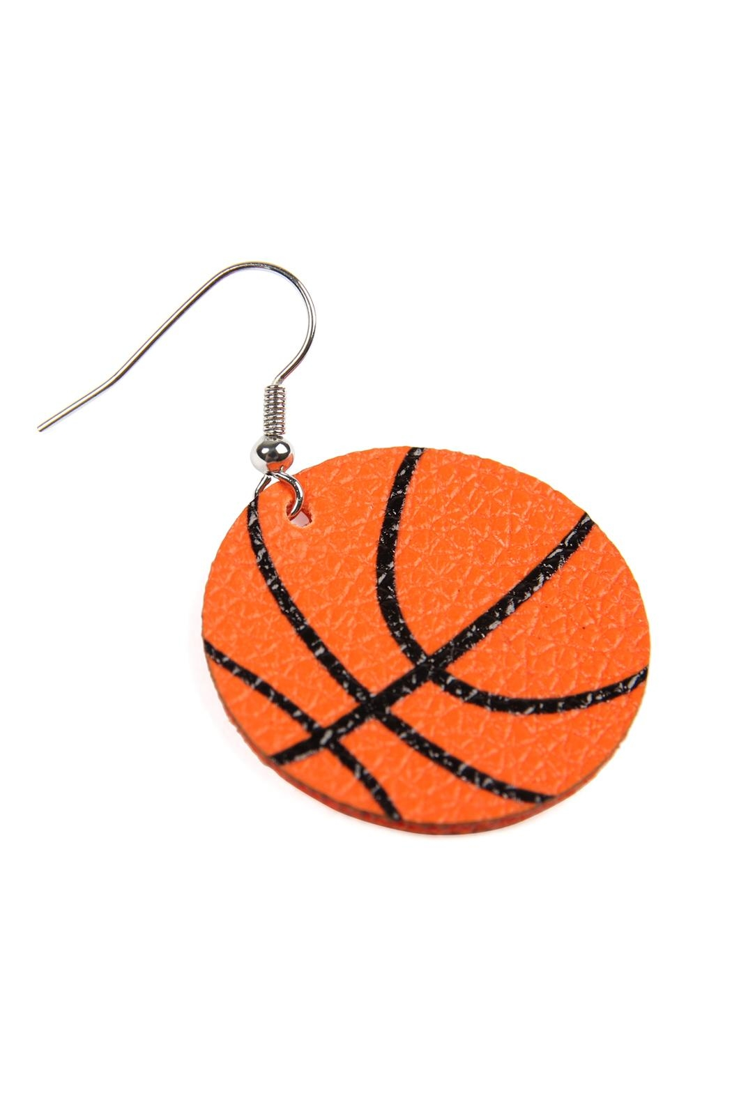 Riah Fashion Basketball Leather Fish Hook Earrings - Back Cropped Image