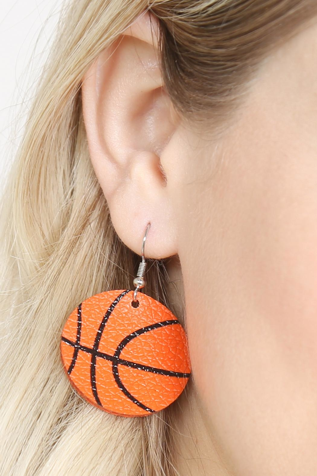 Riah Fashion Basketball Leather Fish Hook Earrings - Front Full Image