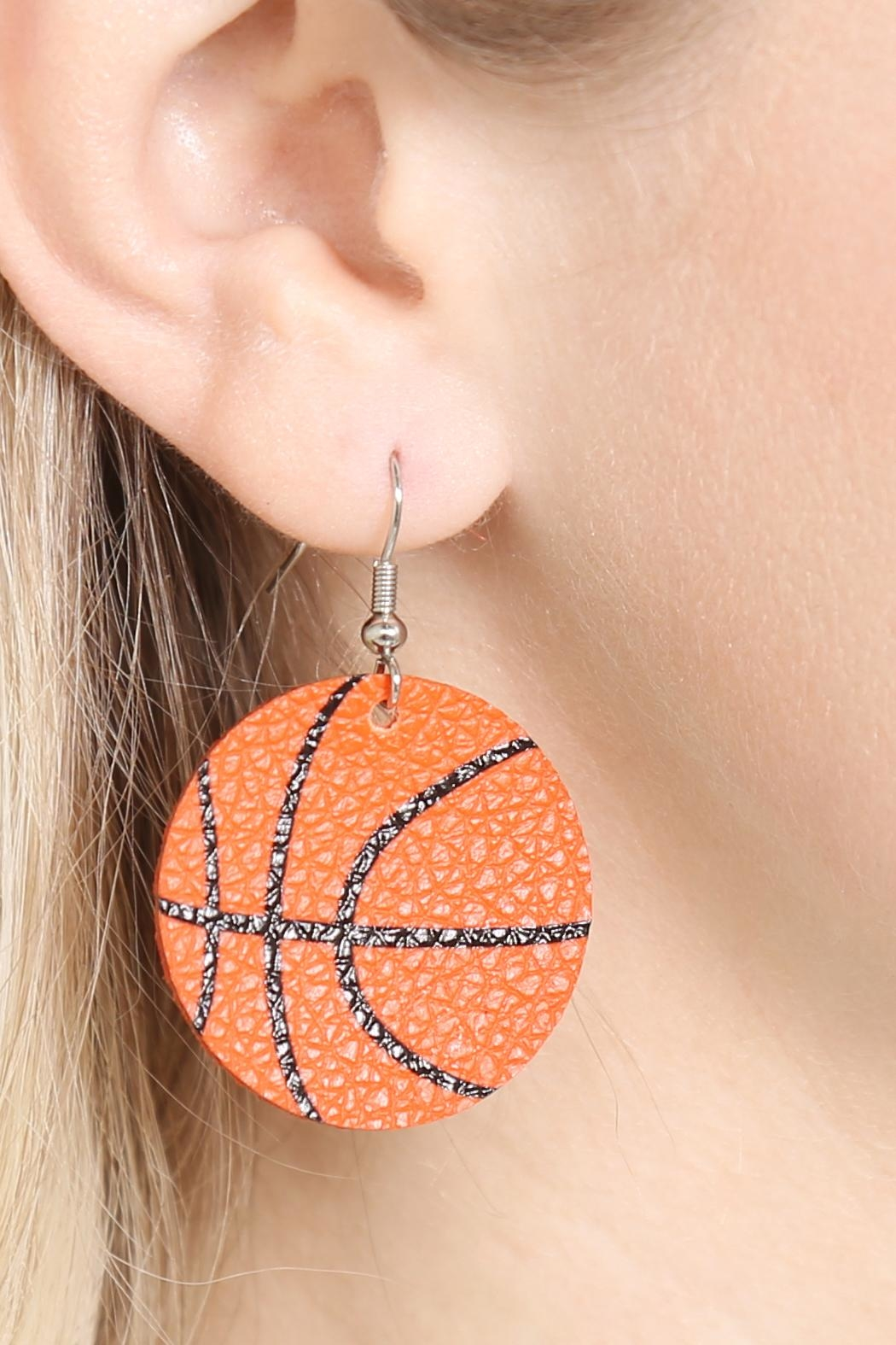 Riah Fashion Basketball Leather Fish Hook Earrings - Side Cropped Image
