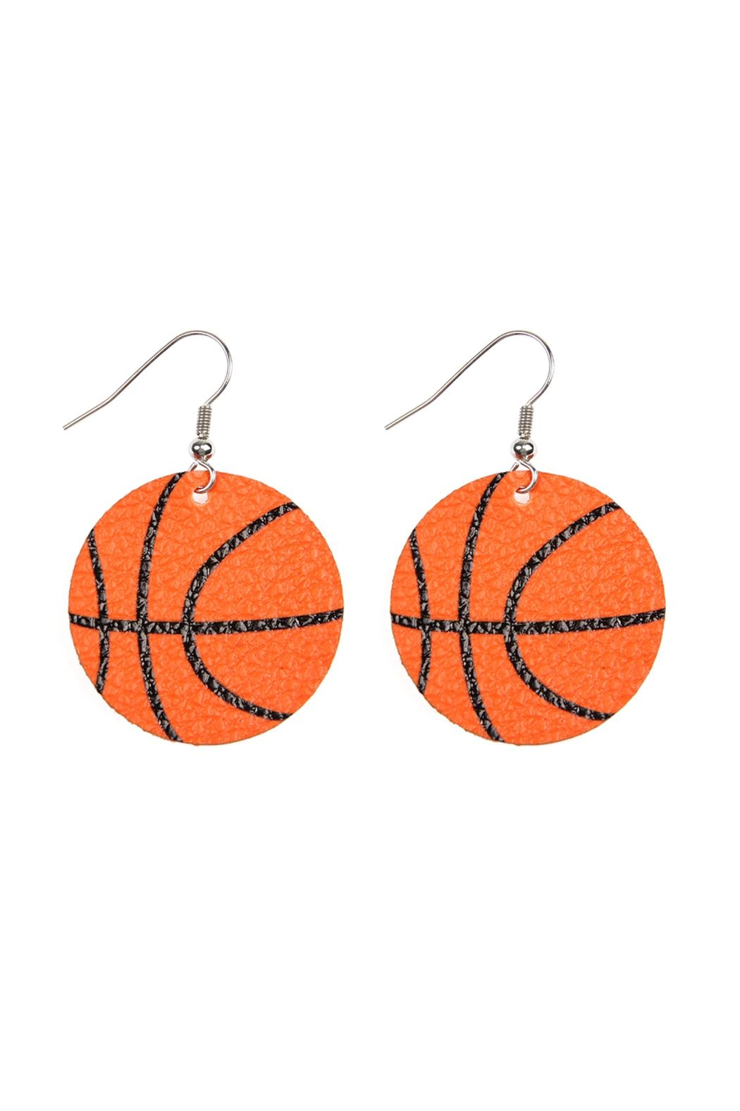 Riah Fashion Basketball Leather Fish Hook Earrings - Front Cropped Image