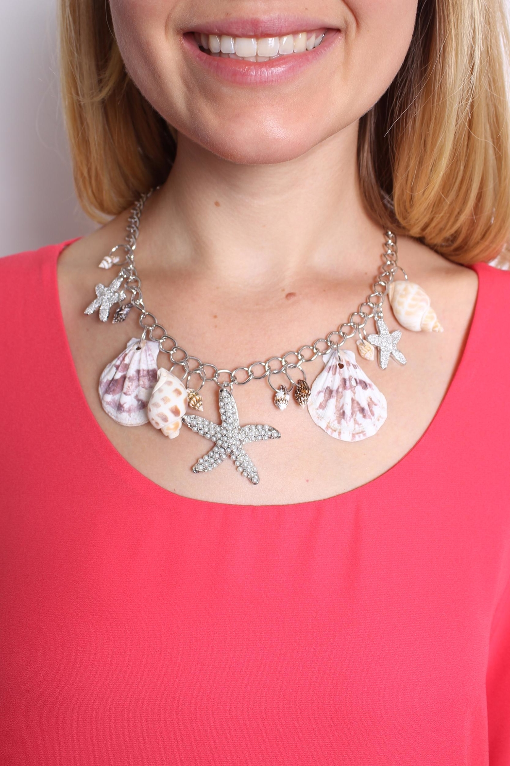 Riah Fashion Beach Charm Necklace - Front Full Image