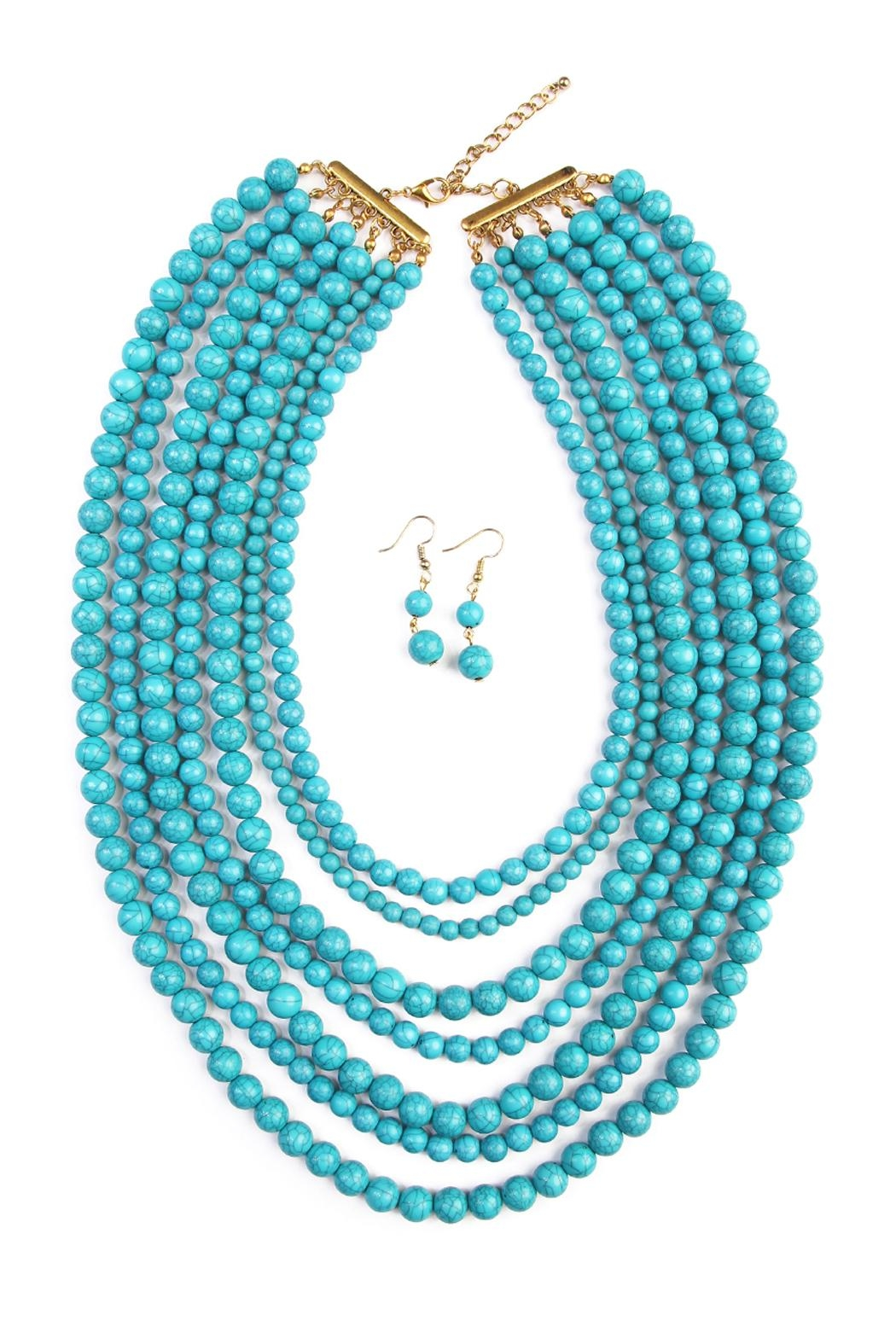 Riah Fashion Bead Strand Necklace Set - Front Cropped Image