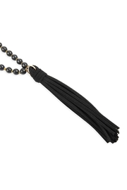 Riah Fashion Beaded Necklace-With Leather-Tassel - Product Mini Image