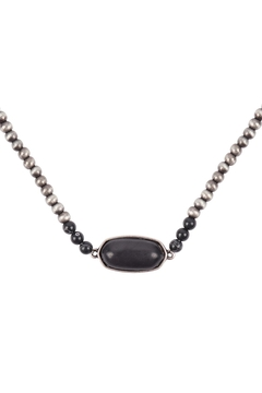 Riah Fashion Beaded-Oval-Natural-Stone-Necklace - Alternate List Image