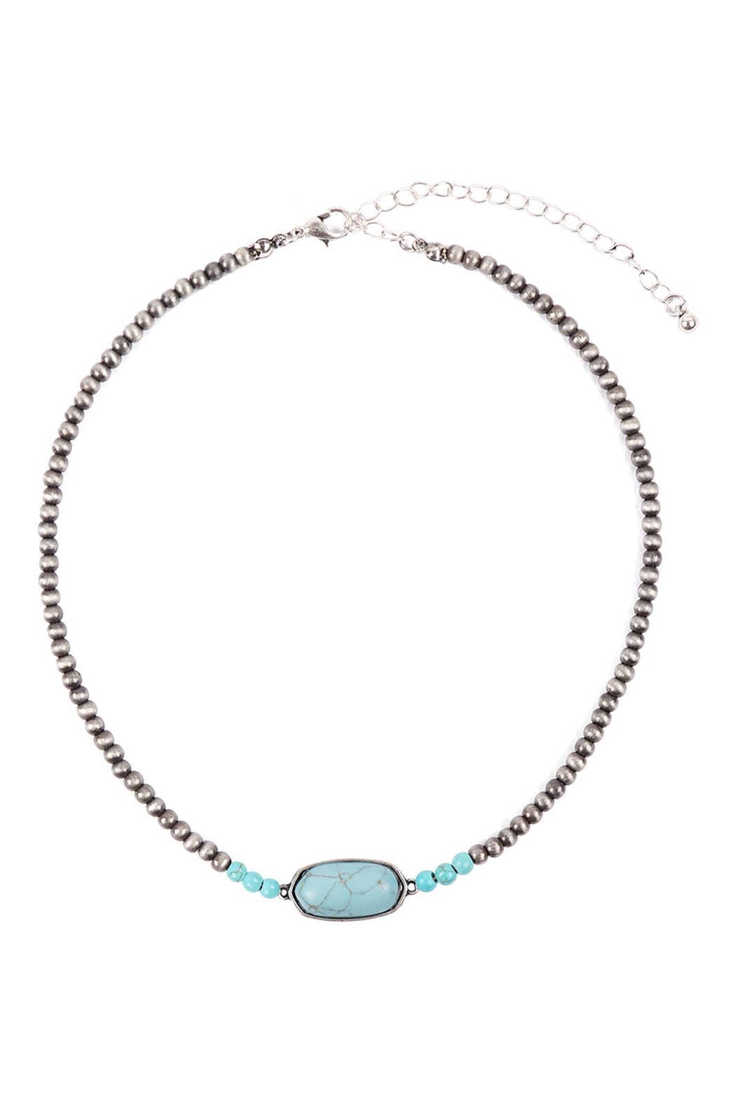 Riah Fashion Beaded-Oval-Natural-Stone-Necklace - Front Full Image