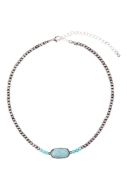 Riah Fashion Beaded-Oval-Natural-Stone-Necklace - Front full body
