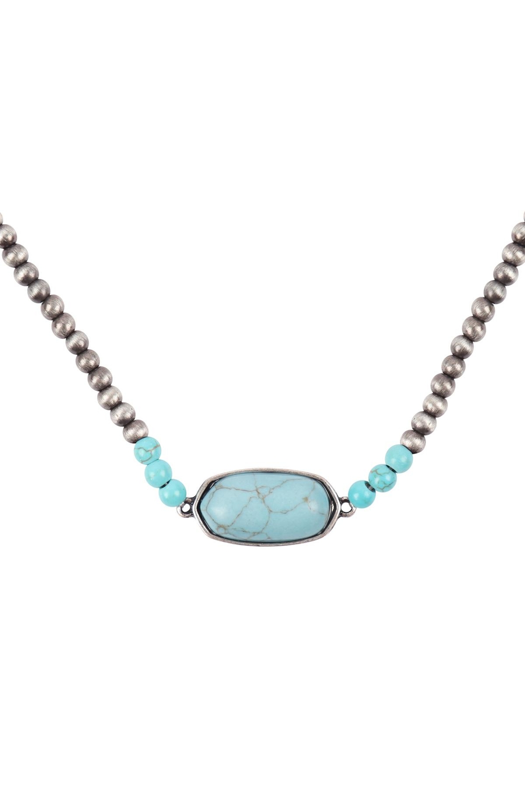 Riah Fashion Beaded-Oval-Natural-Stone-Necklace - Front Cropped Image