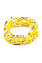 Riah Fashion Yellow Beaded Stretch Bracelet - Product Mini Image