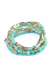 Riah Fashion Turquoise Beaded Stretch Bracelet - Product Mini Image