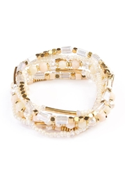 Riah Fashion White Beaded Stretch Bracelet - Product Mini Image