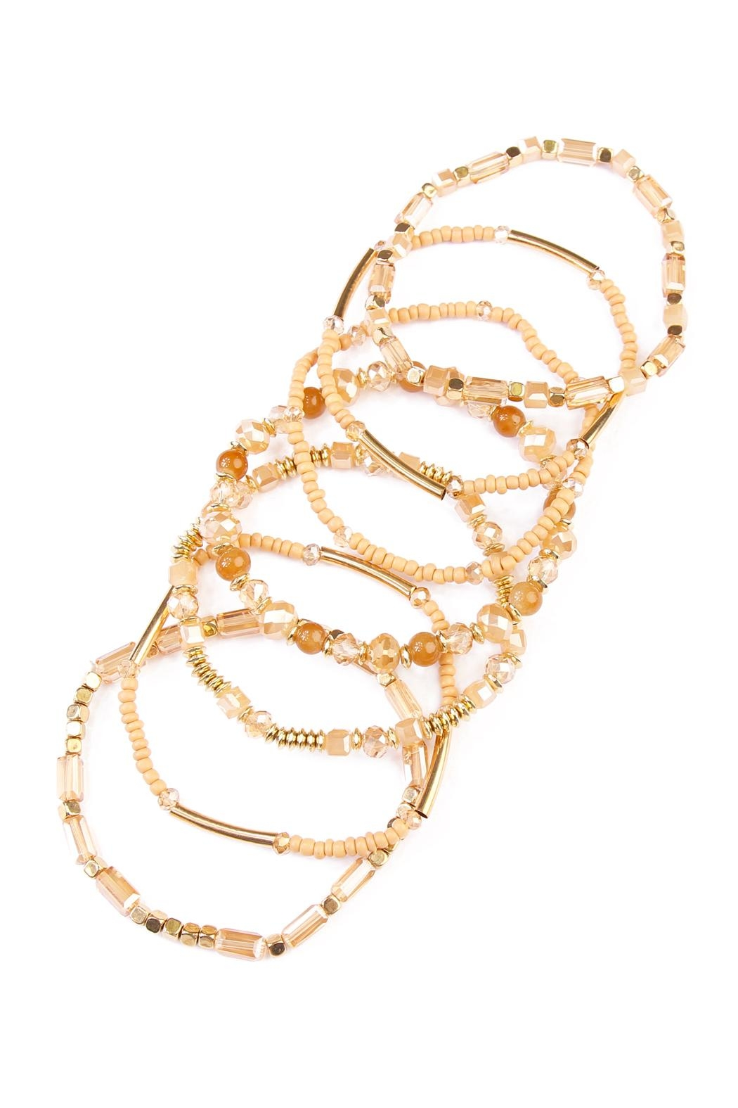 Riah Fashion Champagne Beaded Stretch Bracelet - Front Full Image