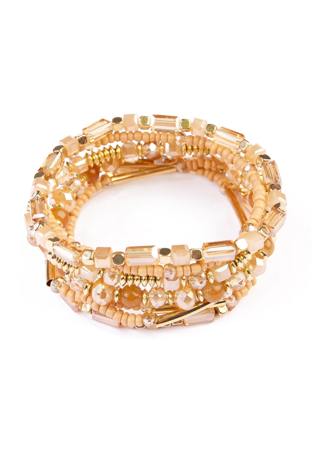 Riah Fashion Champagne Beaded Stretch Bracelet - Main Image