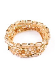 Riah Fashion Champagne Beaded Stretch Bracelet - Product Mini Image