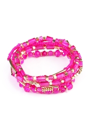 Riah Fashion Pink Beaded Stretch Bracelet - Product Mini Image
