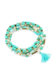 Riah Fashion Turquoise Beaded Tassel Bracelet - Product Mini Image
