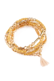 Riah Fashion Caramel Beaded Tassel Bracelet - Product Mini Image