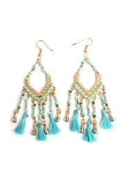 Riah Fashion Beaded Tassel Fringe Earrings - Product Mini Image
