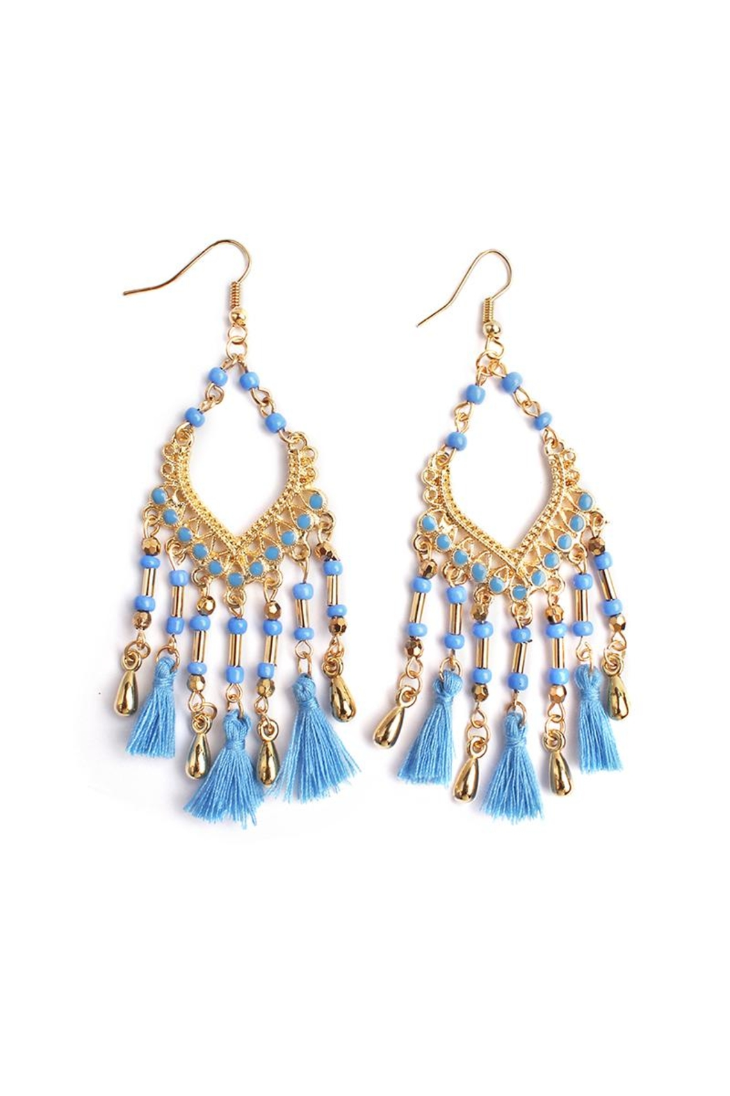 Riah Fashion Beaded Tassel Fringe Earrings - Front Cropped Image