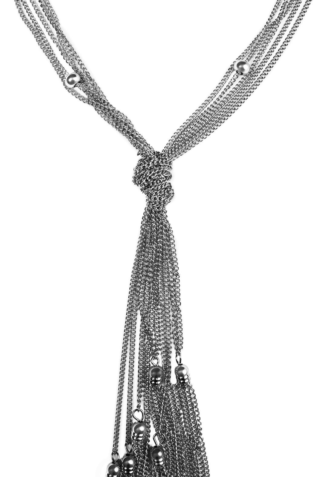 Riah Fashion Beaded Tassel Necklace - Front Full Image