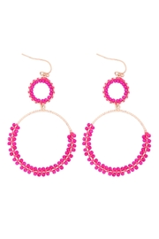Riah Fashion Beaded-Wrap-Texture-Link-Hoop-Earrings - Front cropped