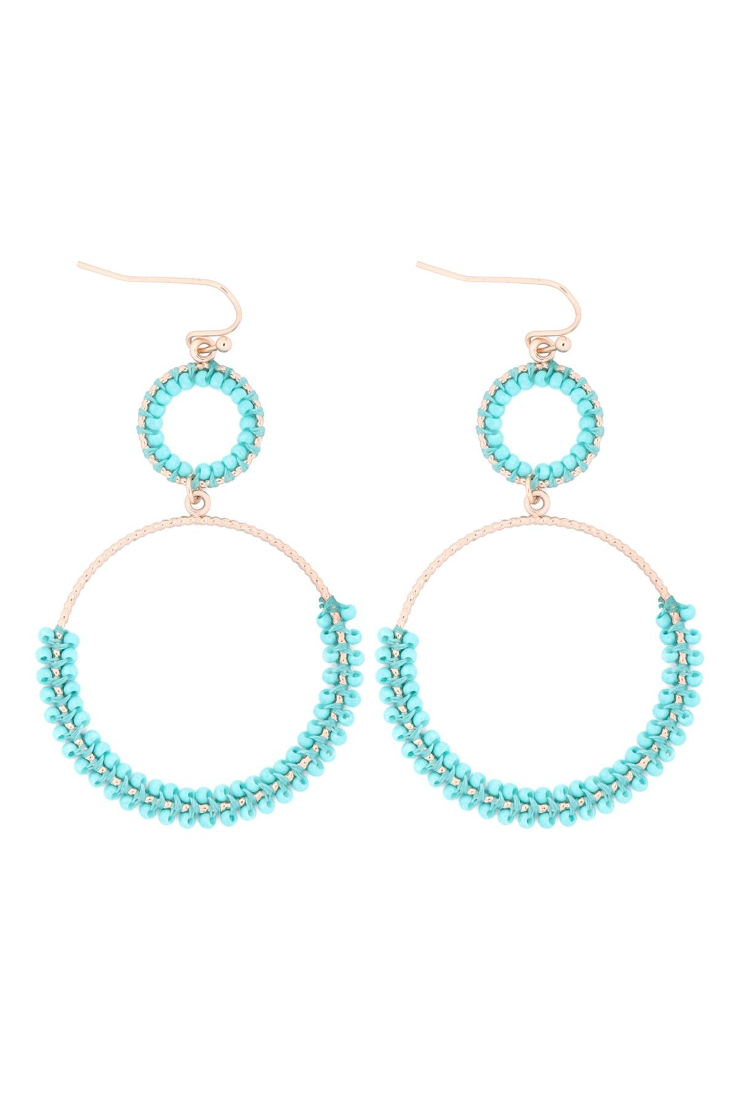 Riah Fashion Beaded-Wrap-Texture-Link-Hoop-Earrings - Front Cropped Image