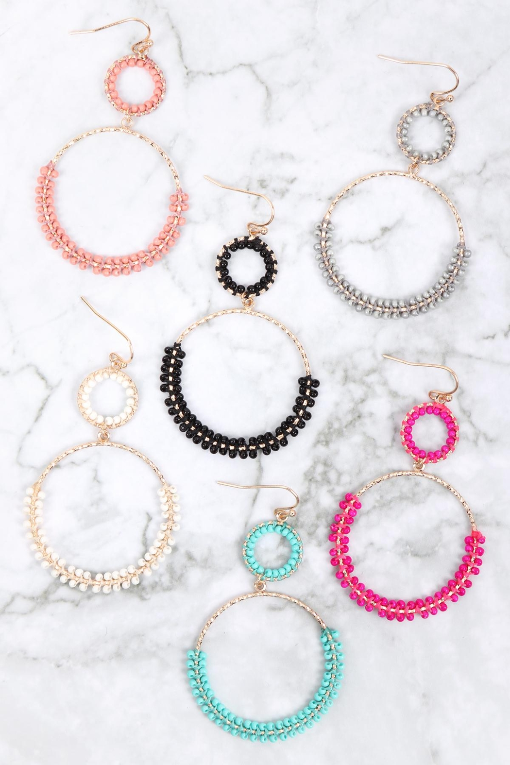 Riah Fashion Beaded-Wrap-Texture-Link-Hoop-Earrings - Front Full Image