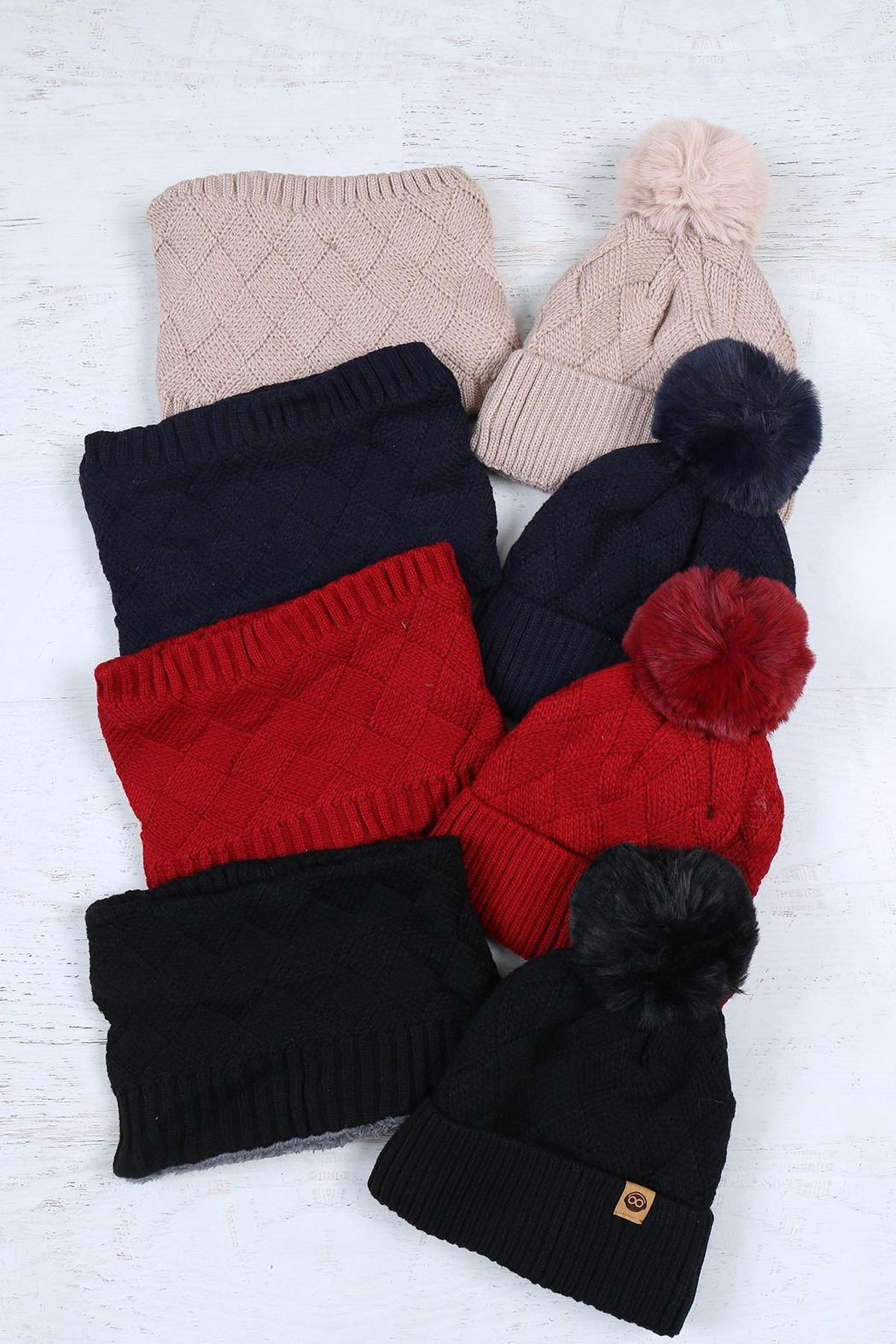 Riah Fashion Beanies-&-Headwrap-Diamond-Pattern-Knit-Assorted-Set - Front Full Image