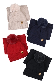 Riah Fashion Beanies-&-Headwrap-Diamond-Pattern-Knit-Assorted-Set - Front cropped