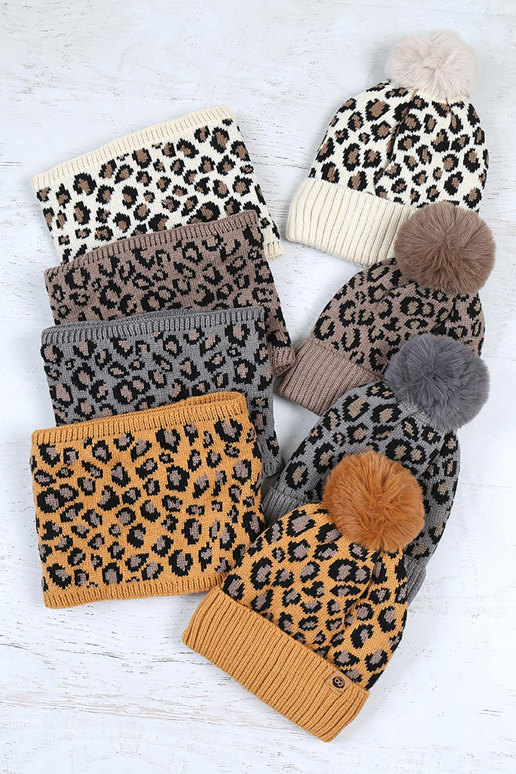 Riah Fashion Beanies-&-Headwrap-Leopard-Knit-Assorted - Front Full Image