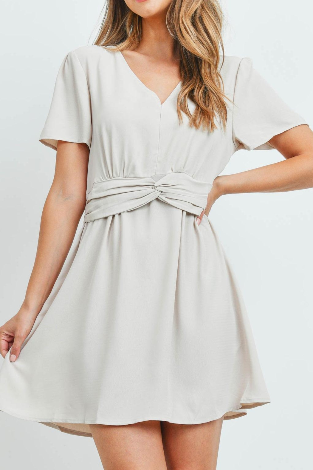 Riah Fashion Beige-Dress - Front Cropped Image