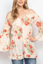 Riah Fashion Beige Floral Top - Product Mini Image