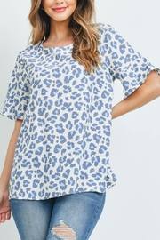 Riah Fashion Bell-Sleeve-Round-Neck-Leopard-Top - Product Mini Image