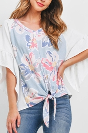 Riah Fashion Bell-Sleeves-Floral-Print-Contrast-Front-Knot-Top - Product Mini Image