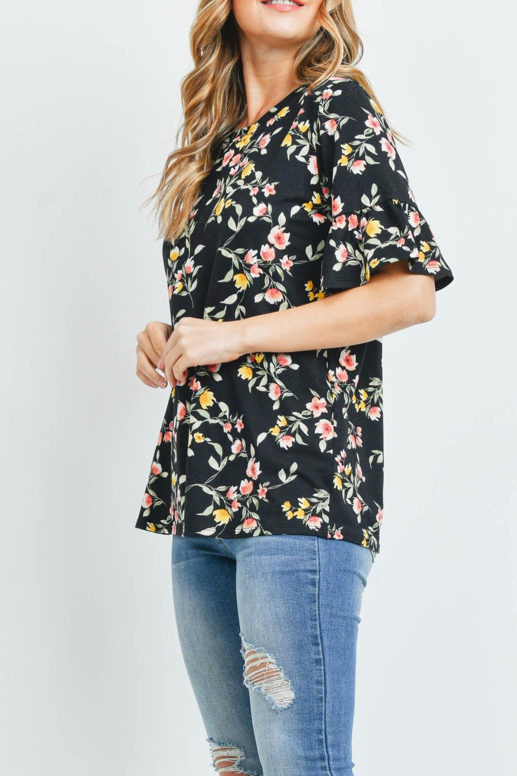 Riah Fashion Bell-Sleeves-Round-Neck-Floral-Top - Side Cropped Image