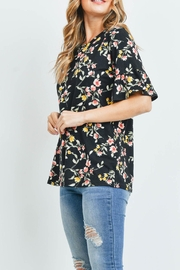 Riah Fashion Bell-Sleeves-Round-Neck-Floral-Top - Side cropped
