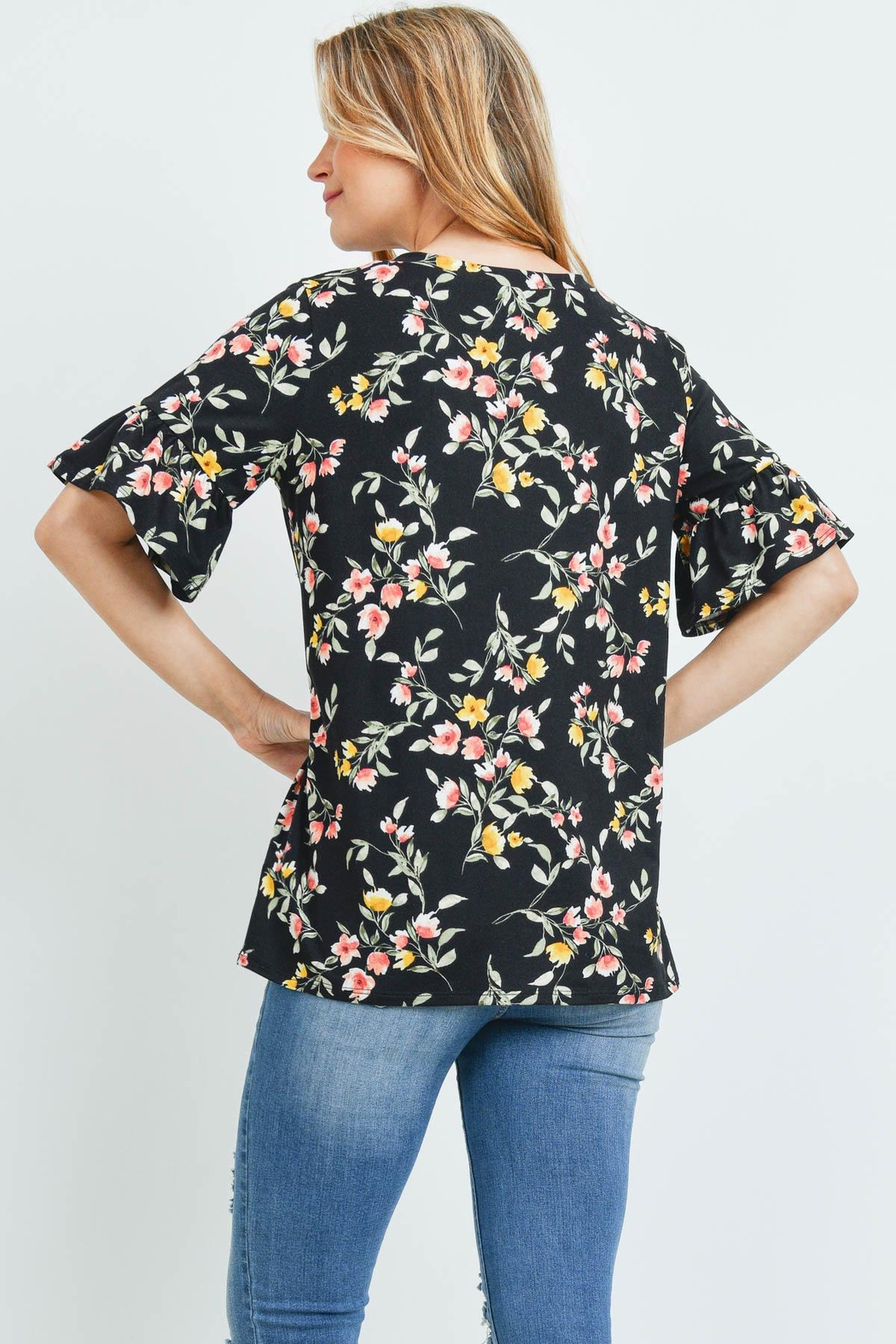 Riah Fashion Bell-Sleeves-Round-Neck-Floral-Top - Front Full Image