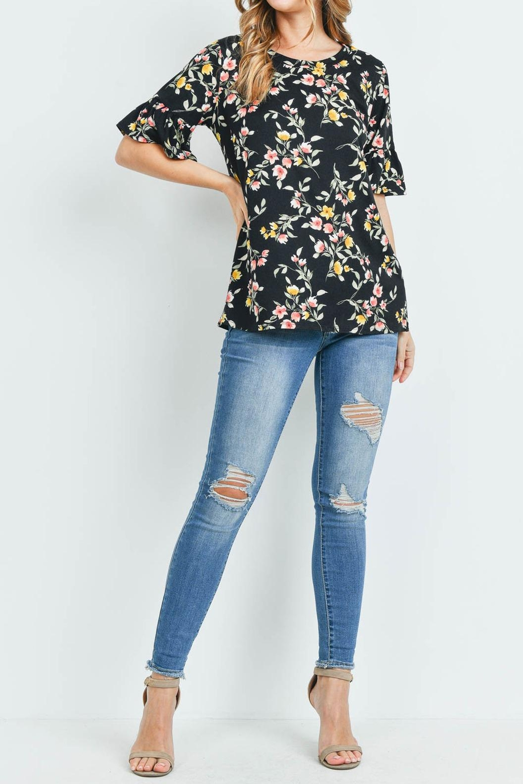 Riah Fashion Bell-Sleeves-Round-Neck-Floral-Top - Main Image