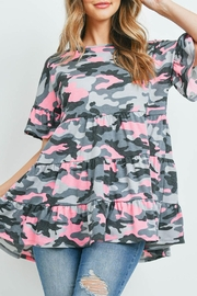 Riah Fashion Bell-Sleeves-Tiered-Ruffle-Camo-Top - Product Mini Image