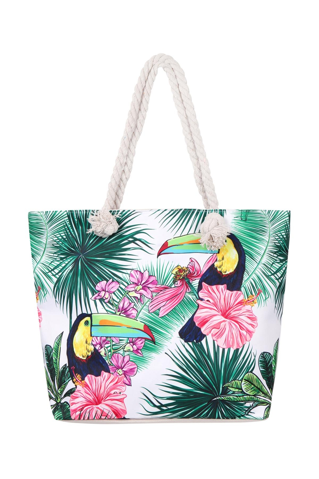 Riah Fashion Bird-Floral-Tote Bag - Front Cropped Image